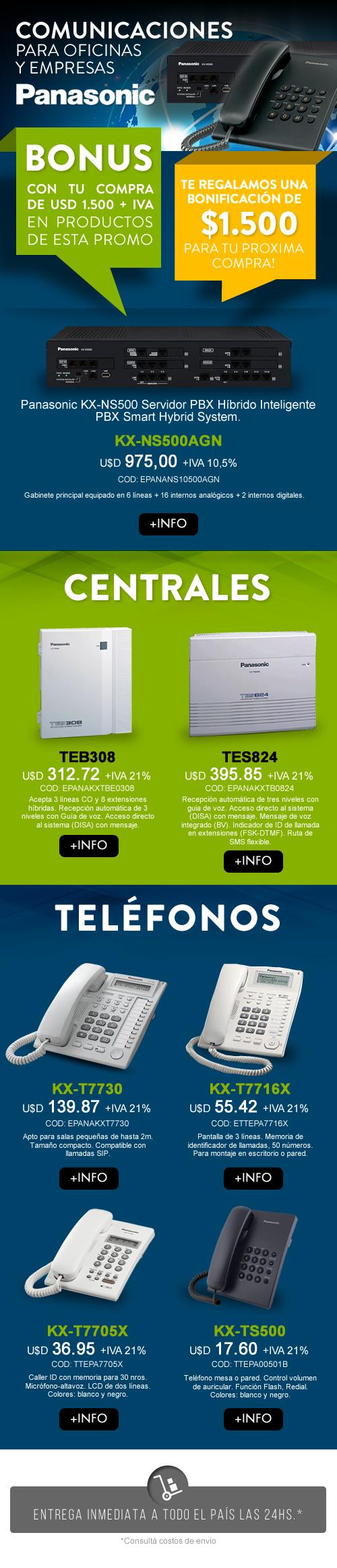 Promoción Centrales y Teléfonos Panasonic